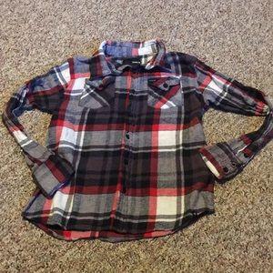 Hurley Boys Flannel Red/Black Plaid Shirt Medium